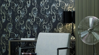 Modern Style Range - couch   curtain   couch, curtain, decor, interior design, living room, pattern, wall, wallpaper, window covering, window treatment, black, gray