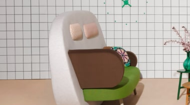 A playful mix of shapes, colours and textures chair, design, furniture, product, product design, table, gray