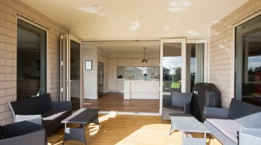 Functional indoor-outdoor living spaceBuilt by Fowler Homes TaranakiFor apartment, ceiling, floor, house, interior design, living room, property, real estate, window, orange