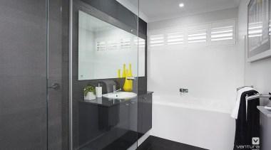 Bathroom design. - The Monterosso Two Storey Display bathroom, interior design, product design, property, real estate, room, gray, black
