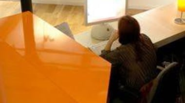 Mankin Architecture UK, reception counter featuring Formica AR+ design, desk, floor, flooring, furniture, room, table, technology, orange