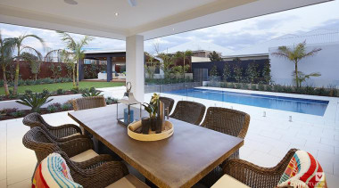Backyard features swimming pool. - The Meridian Two estate, home, interior design, property, real estate, resort, gray
