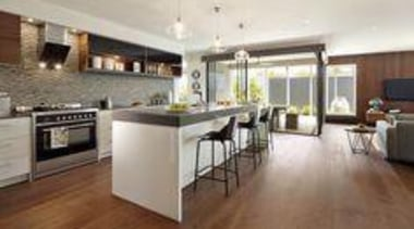 Carlisle Homes Piatra Grey - Piatra Grey™ - countertop, floor, flooring, hardwood, interior design, kitchen, laminate flooring, property, real estate, room, wood flooring, gray, brown