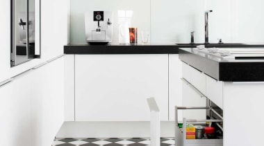 Black and White Kitchen IdeasFor more information, please countertop, floor, flooring, furniture, interior design, kitchen, product, tap, tile, white