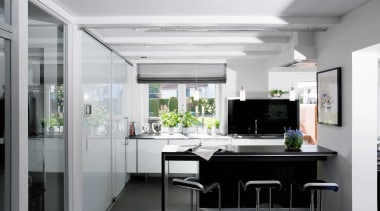 Modern Black and White Kitchen Back in 1987, interior design, kitchen, office, white, gray
