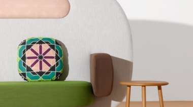 A playful mix of shapes, colours and textures chair, furniture, product design, table, white