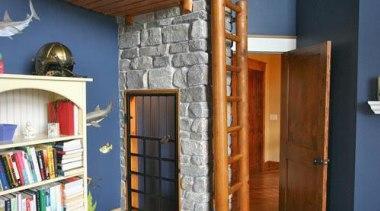 Created by Steve Kuhl of Kuhl Design Build, ceiling, interior design, loft, real estate, shelving, black