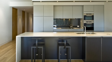 New Zealand Apartment Kitchen Designer of the Year cabinetry, countertop, cuisine classique, interior design, kitchen, gray, brown, black