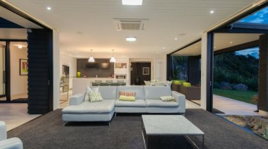 ADNZ Waikato Region Award Winner for Addition and architecture, ceiling, estate, home, house, interior design, lighting, living room, patio, property, real estate, window, gray, black
