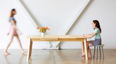 It's a wrap! Or rather, it's a Wrap furniture, girl, leg, sitting, table, wood, white, gray