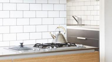 Pepper Design - Poggenpohl kitchen with Teak & countertop, floor, flooring, furniture, interior design, kitchen, sink, tap, tile, wall, white