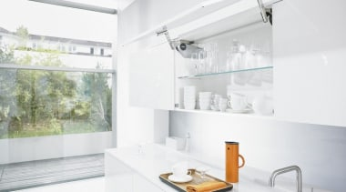 Up & Over Lift System - AVENTOS HS bathroom, interior design, kitchen, sink, tap, white