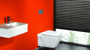 Caroma Cube Invisi II: Available as a wall angle, bathroom, bathroom accessory, bathroom sink, bidet, ceramic, floor, interior design, plumbing fixture, product, product design, tap, toilet, toilet seat, red, black