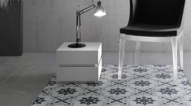 Create character floors or a feature wall with black, black and white, chair, floor, flooring, furniture, interior design, monochrome, monochrome photography, table, tile, wall, gray