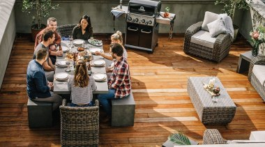 Outdoor Furniture and BBQ Packages flooring, furniture, table, brown