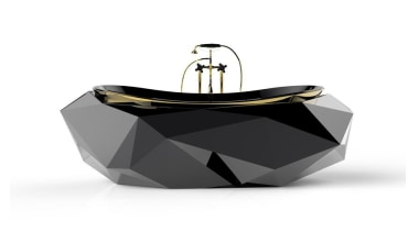 Diamond bathtub by Maison Valentina – styled like perfume, product, table, white