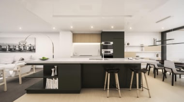 132 Halsey is a centrepiece of Wynyard Quarter, countertop, interior design, kitchen, office, product design, table, white