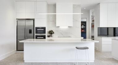 LSA Architects cabinetry, countertop, cuisine classique, floor, interior design, kitchen, gray, white