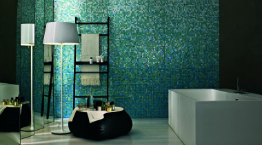 Ortensia feature wall. - Bisazza Range - architecture architecture, bathroom, floor, flooring, glass, interior design, room, tile, wall, teal, green, black