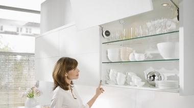 Bi-fold Lift System - AVENTOS HF - bathroom bathroom, furniture, home, interior design, kitchen, room, shelf, shelving, tap, white