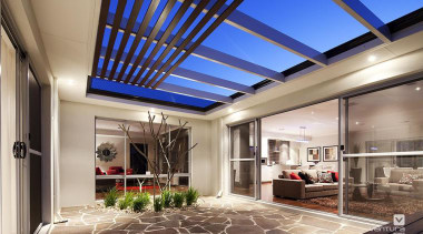 Alfresco design. - The Nirvana Display Home - ceiling, daylighting, estate, home, house, interior design, property, real estate, roof, window, gray