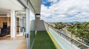 Balcony with view over Rangitoto apartment, architecture, condominium, daylighting, estate, home, house, property, real estate, window, white