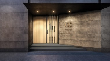 132 Halsey is a centrepiece of Wynyard Quarter, architecture, interior design, lobby, wall, black, gray