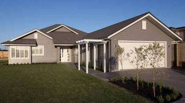 Landmark Homes Brookside Design - Landmark Homes Brookside cottage, elevation, estate, facade, home, house, landscape, property, real estate, residential area, roof, siding, suburb, window, yard, brown, blue