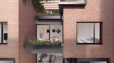 The first stage of Wynyard Central is an architecture, balcony, brick, facade, home, house, real estate, residential area, siding, wall, window, gray, red