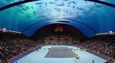 World's First Underwater Tennis Complex 03 - World's arena, leisure, sky, sport venue, structure, theatre, world, teal, blue