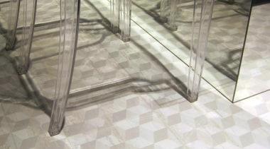 3D look geometric pattern porcelain tiles in 144x893mm chair, floor, flooring, furniture, hardwood, structure, table, tile, gray