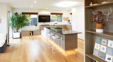 Aurora Australis Interior  – TIDA New Zealand countertop, floor, flooring, hardwood, interior design, kitchen, laminate flooring, living room, real estate, room, wood, wood flooring, white