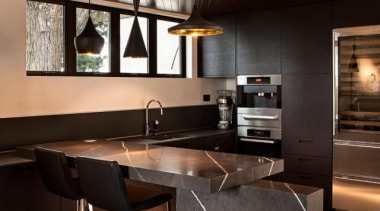 Grigio Armani - Grigio Armani - architecture | architecture, ceiling, countertop, floor, flooring, furniture, interior design, kitchen, living room, loft, table, wood, black