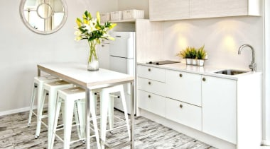 Soft neutrals and whites feature in the living countertop, cuisine classique, floor, flooring, furniture, interior design, kitchen, table, white