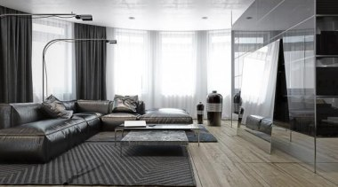 creative coffee table - Masculine Apartments - ceiling ceiling, floor, flooring, furniture, interior design, living room, room, wall, window, wood flooring, gray, white, black