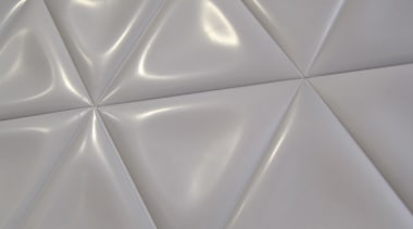 Soft satin finish is reflective enough to highlight ceiling, floor, flooring, line, material, texture, tile, white, gray
