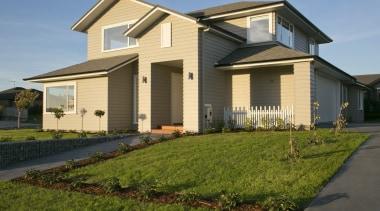 Landmark Homes Ruapehu Design - Landmark Homes Ruapehu building, cottage, elevation, estate, facade, home, house, landscape, property, real estate, residential area, roof, siding, villa, brown