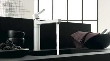 Kludi 04 - angle | bathroom | furniture angle, bathroom, furniture, interior design, plumbing fixture, product, product design, sink, table, tap, black, white