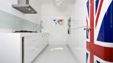 Union Jack Smeg fab fridge!This kitchen features other interior design, product design, white