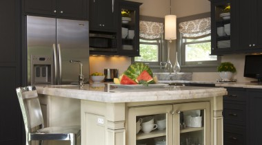 Historic Bungalow Renovation - Kitchen - cabinetry | cabinetry, countertop, cuisine classique, floor, flooring, furniture, hardwood, home, home appliance, interior design, kitchen, room, table, wood flooring, gray