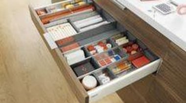 Internal Drawer Organisation from Blum - My Dream drawer, furniture, product, table, brown, white