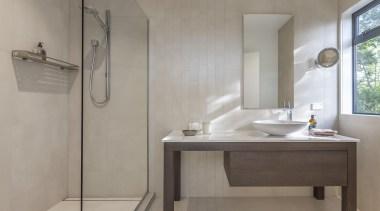 Celia Visser of Celia Visser Design bathroom, bathroom sink, floor, interior design, plumbing fixture, product design, sink, tap, gray