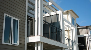 A mixture of Edge aluminium baluster and glass balcony, building, daylighting, deck, facade, handrail, house, outdoor structure, porch, siding, structure, window, black, gray