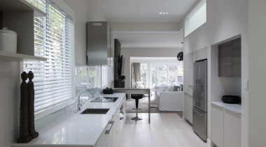 Light, bright and inviting with comfortable kitchen - countertop, floor, interior design, kitchen, room, gray