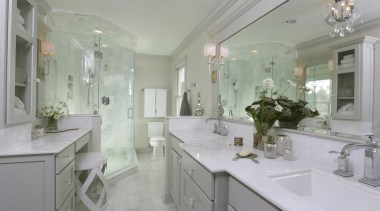 We reconfigured this Master Bathroom to be a bathroom, countertop, estate, home, interior design, property, real estate, room, sink, gray