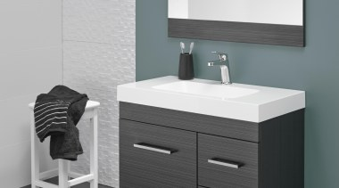 Soft basin corners and thick external lines give angle, bathroom, bathroom accessory, bathroom cabinet, bathroom sink, chest of drawers, plumbing fixture, product, product design, sink, tap, gray, black