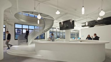 The design for renowned advertising agency Wieden+Kennedy moves furniture, interior design, product design, gray
