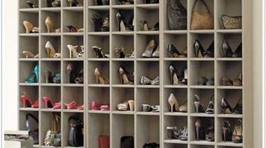 WALK IN CLOSET - Closet - walk in bookcase, closet, furniture, shelf, shelving, shoe, white, black