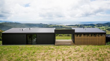 Box Living - Highly Commended – 2016 New Zealand architecture, facade, home, house, land lot, landscape, property, real estate, roof, rural area, shed, white