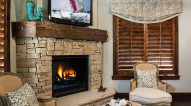 Mountain Modern - Master Bedroom - fireplace   fireplace, hearth, interior design, living room, room, gray